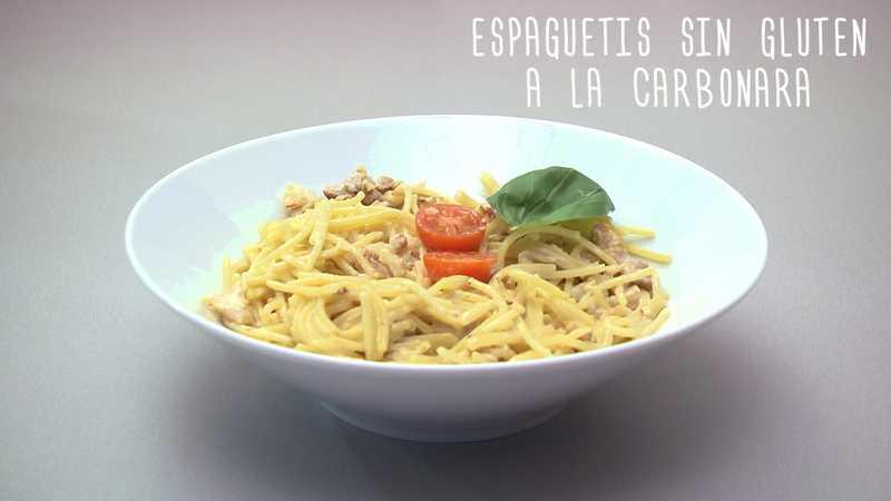 Espaguetis carbonara sin gluten