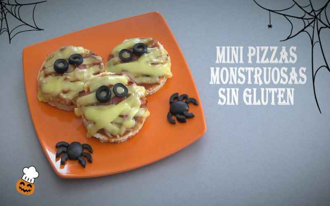 Mini pizzas monstruosas de Halloween sin gluten