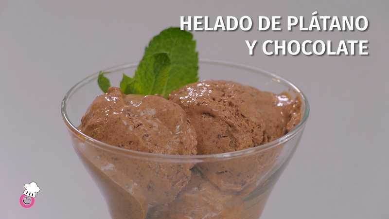Helado de plátano de Canarias y chocolate sin gluten